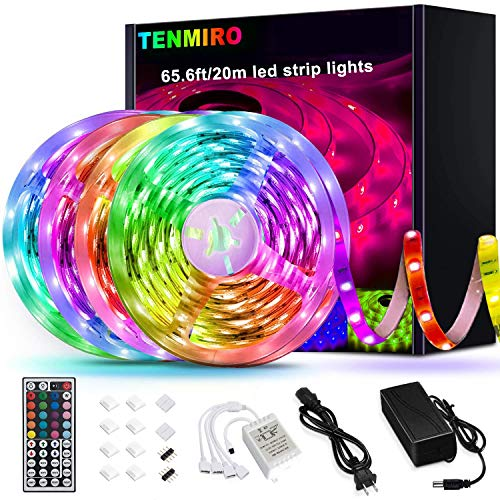 Tenmiro 65.6ft Led Strip Lights, Ultra Long RGB 5050 Color Changing LED Light Strips Kit with 44 Keys Ir Remote Led Lights for Bedroom, Kitchen, Home Decoration