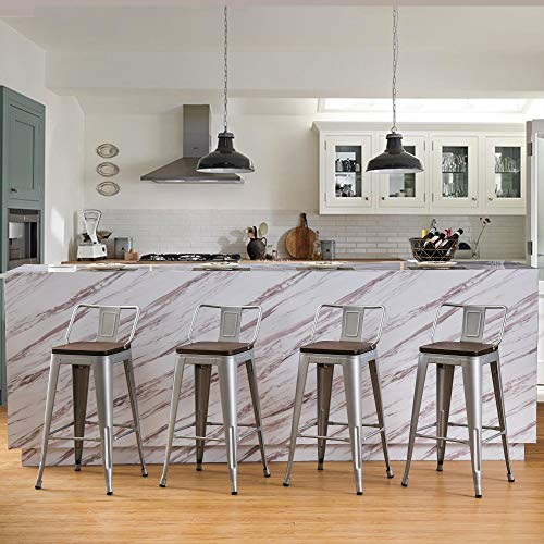 Andeworld Metal Bar Stools Set of 4 Kitchen Counter Stools Bristro Barstools Industrial Bar Stools