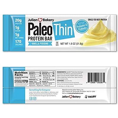 New! Paleo Protein Bar? (Vanilla Pudding) 12 Bars (20g Grass-Fed Beef) (Low Net Carbs) (w/Organic Prebiotics + Probiotics) (Gluten Free)