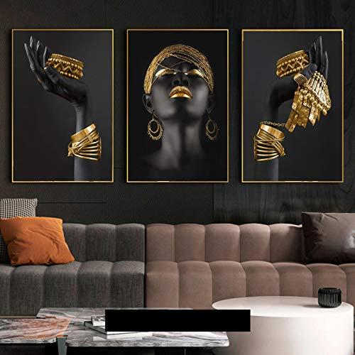 Nativeemie Impresión HD Mujer Africana con Joyas Oro Carteles Impresiones Lienzo Pinturas artísticas Mujer Negra Pared Imágenes Art Sa Estar 40x60cm / 15.7'x23.6 X3 Marco Interno