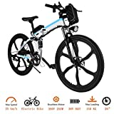 Tomasar Power Electric Bike with Lithium-Ion Battery, 26 inch Wheel Cyclocross Bike (US Stock) (26''-White-Foldable)
