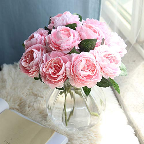 BHUI Western Roses Simulation Flowers Hand Bouquet Fake Flowers Home Decoration Artificial Outdoor Flowers Porch Resistant Shrubs Plants for Planter Home Wedding Porch Window Decor Silk Flower Arrangements