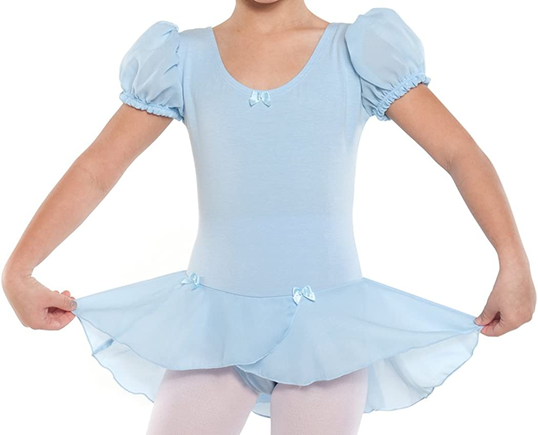 DanceNwear Big Girls Puff Sleeve Dress with Attached Georgette Skirt and Bow Trim Light Blue