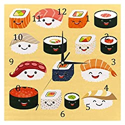 AISSO Wall Clocks Japan Sushi Yellow Battery Operated Number Clock for Bedroom Living Kitchen Office Home Decor Silent & Non-Ticking