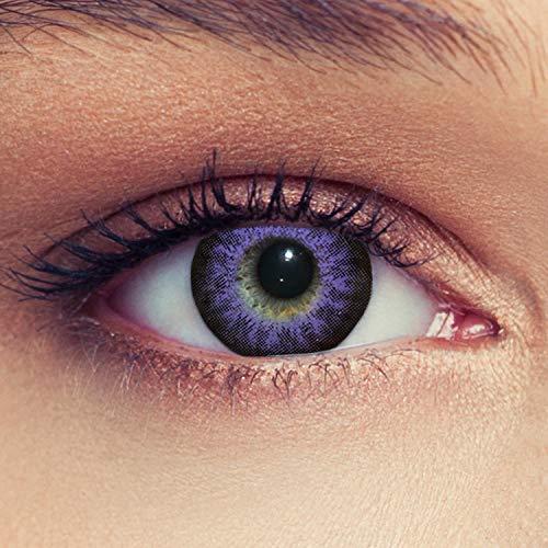 Designlenses 2 Violette Kontaktlinsen mit Stärke Drei Monatslinsen für einen Bigeye Effekt, geeignet für dunkle Augen + Gratis Behälter