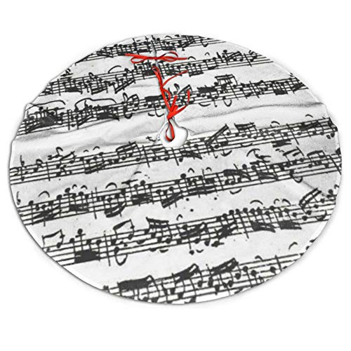 SXKKoin 48' Traditional Holiday Christmas Tree Skirt with Bach Cello Suite Handwritten Excerpt Design