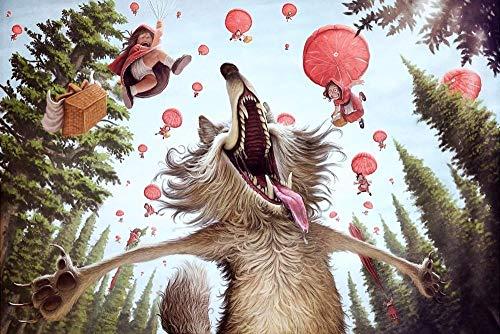 XHJY Puzzles para Adultos De Juguete Educativo Intelectual De Descompresión Divertido Juego Familiar para Niños Adultos, Caperucita Roja Y El Lobo-500 Piezas(52 x 38 cm)