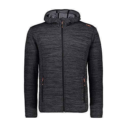CMP Herren Stretch Fleece Jacket with Hood Jacke, Grey Melange, 50