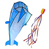 Image 3D Kite Large Blue Dolphin Breeze Beach Kites with Huge Frameless Soft Parafoil Giant,Gift for Kids,Family