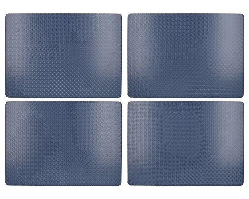 4er Set Tischsets, Platzsets INDIGO PUNKTE blau Kork 40x29cm Creative Tops
