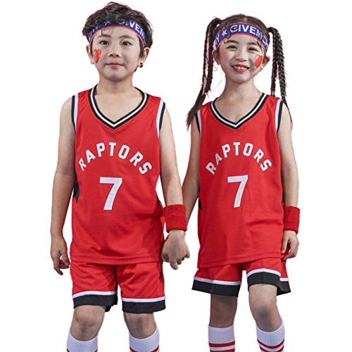 Jungen Basketball Trikots Lowry Raptors # 7, Jungen Mädchen Westen Top und Shorts 2-teiliges Set Ärmelstopps Sport Basketball Sommer Kurze Uniform-red-XXS