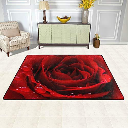 MALPLENA Malpela Teppich mit Rosenmuster, für Wohnzimmer, Fußmatte, Fußmatte, Schuhe, Schaber für Wohnzimmer, Esszimmer, Schlafzimmer, Küche, rutschfest, Polyester, 1, 72 x 48 inch