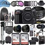 Nikon D500 DSLR Camera 20.9MP CMOS Sensor with AF FX NIKKOR 50mm f/1.8D Lens, 2 Pack SanDisk 64GB Memory Card, Backpack, Full Size Tripod & A-Cell Accessory Bundle (Black)