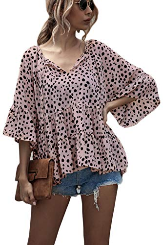 ROVLET Women's Chiffon 3/4 Sleeve Loose V Neck T Shirt High Low Hem Babydoll Peplum Tops Blouses (Pink Mauve, Small)