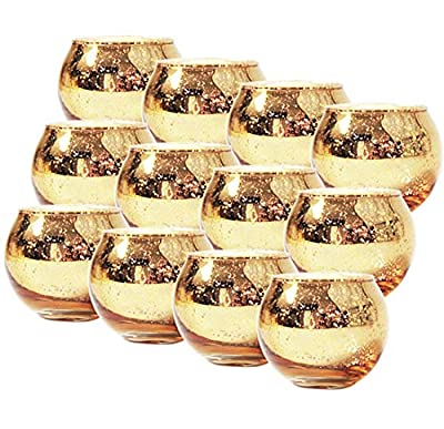 Tebery 12 Pack Round Mercury Glass Votive Candle Holders 2-Inch Gold Tealight Candle Holder for Weddings and Home Décor