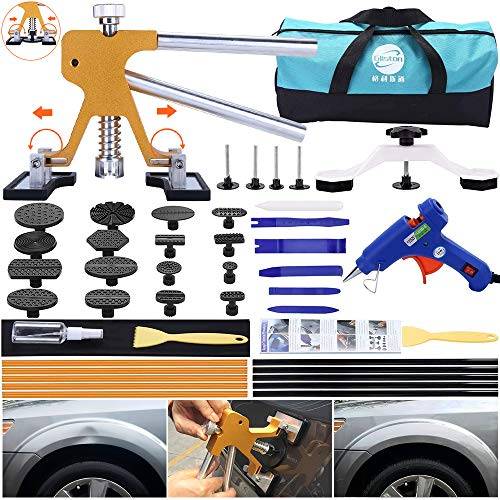 Leakind 45pcs Paintless Dent Repair Tool Dent Puller Kit, Adjustable Width, Pops a Dent Car Dent Removal Kit, Golden Lifter, Bridge Puller& Glue Gun for Automobile Body Motorcycle Refrigerator
