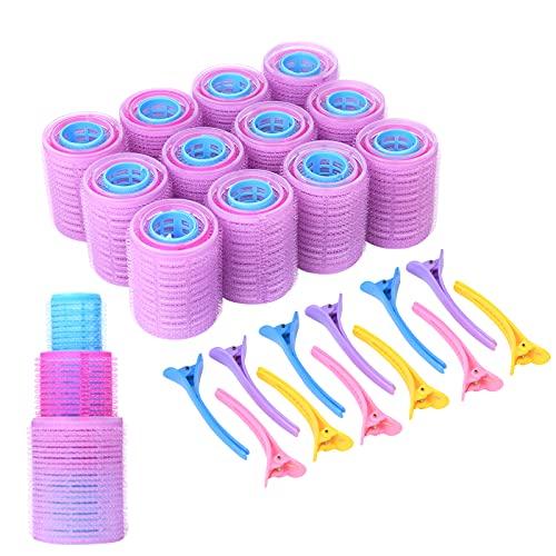 URAQT Lockenwickler, 36 Stück Selbsthaftende Haftwickler von 48 mm, 36 mm, 25mm, Lockenwickler ohne Hitze für Lange und Kurze Haare mit 12 Haarspangen