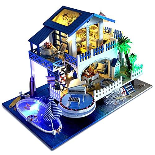 XKUN DIY Miniatur-Puppenhaus-Kit, 3D Holzpuzzle Mini-Puppenhaus-Modell mit Möbeln LED-Lichter - Wunderschöne Kindergeburtstags-Graduation-Geschenk-24 * 38 * 25 cm