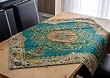 Mantel LPUK Afshari Collection Series2 azul 100 cm × 100 cm aprox. Mantel de tela cuadrada clásico patrón vintage