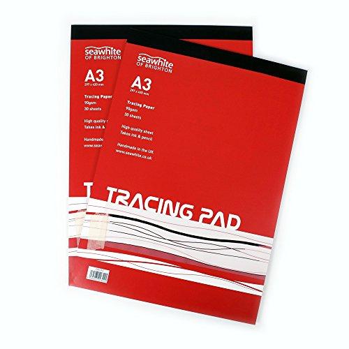 A3 Tracing Pad - 90 gsm - 30 Vellen Hoge Kwaliteit - Semi-Transparant Papier - Geschikt voor Potloden en Inktpennen - Ideaal voor Studenten en Professionele Kunstenaars