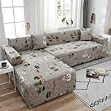 WXQY Juego de sofá de Esquina en Forma de L de celosía elástica, Utilizado en la Sala de Estar, Antideslizante, Todo Incluido, Funda de sofá elástica, Funda de sofá A1 1 plazas