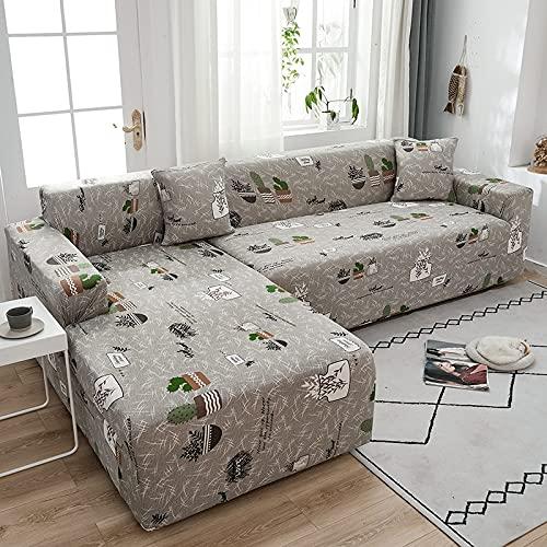 Funda elástica para sofá, sofás Ajustables, Fundas para Chaise, salón para Sala de Estar, sofá seccional, sofá de Esquina, Funda A12, 4 plazas