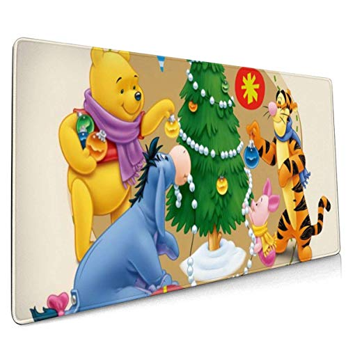 Winnie Piglet Pooh Bear Christmas Mouse Pad with Stitched Edge Premium-Textured Mouse Mat Rectangle Non-Slip Rubber Base Oversized Gaming Mousepad,for Laptop Computer & Pc 15.8x35.5 Inches