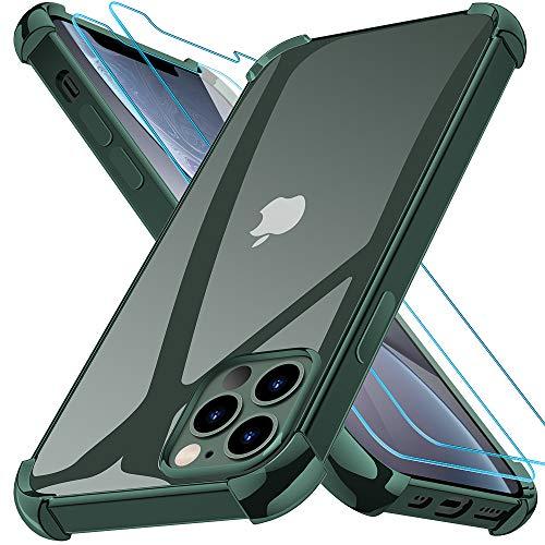 Kensou Cover per iPhone 12 PRO Max con 2 Vetro Temperato, Assorbimento degli Urti e Ultra Sottile Custodia per iPhone 12 PRO Max - 6.7 Pollici Verde