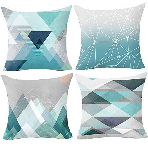 Hangood Geometric Cushion Covers 18x18 Soft Plush Throw Pillow Covers 45cm x 45cm Set of 4pcs Teal