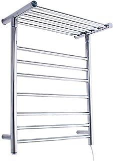 TYUIO 7-Bar Wall Mounted Towel Warmer con Estante Superior en Chrome |Eficiente de la energía 71W Enchufe eléctrico en Calentador de Toallas de baño |Acero toallero Calefactor con Encendido/Apagado