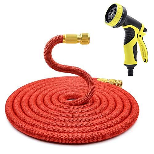 ProHoze Erweiterbar Flexible Gartenschläuche Rohr mit Messing Verbinder und 10 Funktion Bewässerungspistole Sprühen - 100FT Rot