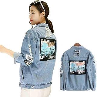 MYNOV Print Bomber Chamarra para Mujer 2019 Primavera Otoño Denim Jacket Plus Size Jeans Jacket