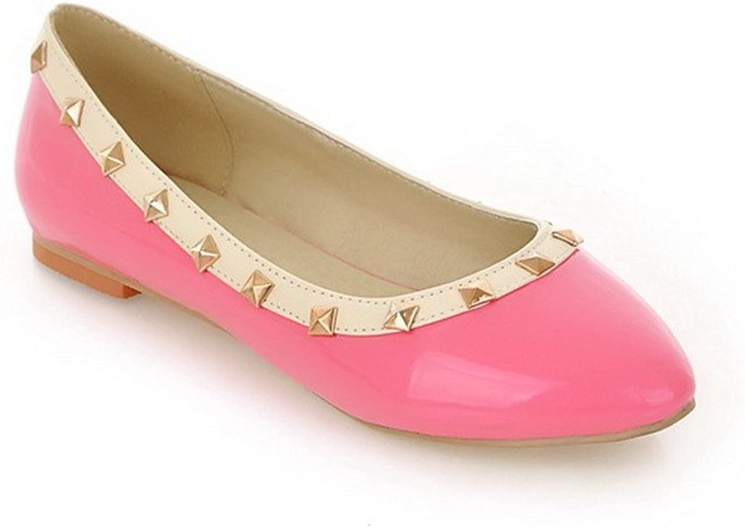 WeenFashion Women's Closed Round Toe Patent Leather PU Solid Flats whith Rivet, Pink, 10 B(M) US