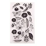 AIUIN Sellos Scrapbooking Clear Stamp Flor Hoja Mariposa Sello Transparente Hoja De Sello De Silicona para álbum De Tarjetas De Arte De Scrapbook DIY álbum
