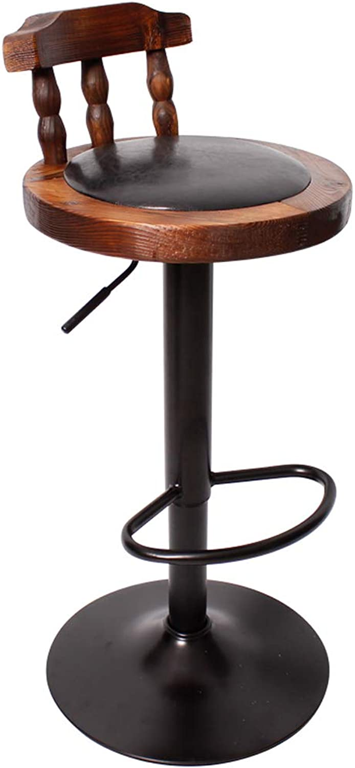 HBJP Pure Solid Wood Retro Bar Chair Can Be Raised and Lowered redating High Stool with Backrest Consumer Commercial Lounge Chair Black Brown Green Tricolor bar Chair (color   Black)