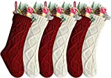 Kunyida Pack 6,18' Unique Burgundy and Ivory White Knit Christmas Stockings, Style2