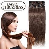 45-55CM 8 Extensions de cheveux humains à clips naturels – 100% Remy hair - 8 Mèches / 18 Clips (45cm=70g, 04 Marron chocolat)