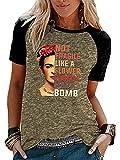 kewing Camiseta Informal Estampada de Pintor de Pintura al óleo de Verano para Mujer Camisetas raglán de Manga Corta con Cuello Redondo Blusa de Talla Grande S-XXXL