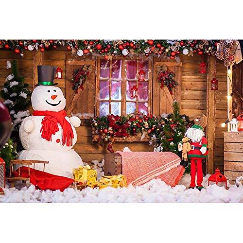Fondos de Navidad para Fiestas Familiares, Invierno, Nieve, árbol, Santa, Piso de Madera, Fondos para niños, sesión fotográfica para Estudio fotográfico A12, 10x7ft / 3x2,2 m