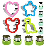 Stainless Steel Sandwiches Cutter set, Mickey Mouse & Dinosaur & Heart & Star Shapes Sandwich...