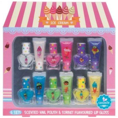 Super Girls Kinder Nagellack SET/Waterbase Kids Nail Polish Lipgloss SET 12tlg