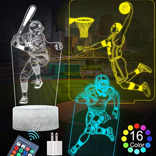 FEOAMO 3D Night Light for Boys, 16-Colors and 3-Pattern with Remote Control, 3D Illusion Toy Lamp Nightlight, Gift for Boys Aged 4 5 6 7 8,Baseball, Football, Basketball