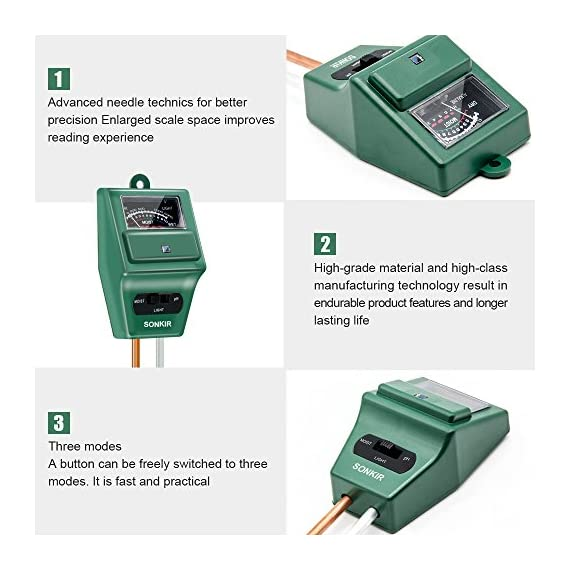 Sonkir Soil pH Meter, MS02 3-in-1 Soil Moisture/Light/pH Tester Gardening Tool Kits for Plant Care, Great for Garden… 4 Kindly NOTE: This soil tester can not be applied to test pH value of any other liquid. If the soil is too dry the indicator will not move, and water it before testing. 3-IN-1 FUNCTION: Test soil moisture, pH value and sunlight level of plant with our soil meter, helps you specialize in grasping when you need to water your plant. ACCURATE & RELIABLE: Double-needle Detection Technology strongly enhances the speed and accuracy of detecting and analyzing soil moisture and pH acidity.