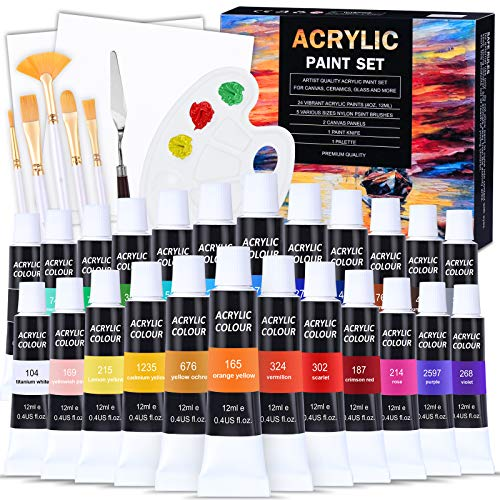 Juego de Pinturas Acrilicas,Aottom 24 tubos de acrilico pintura manualidades, regalo de pintar creativa DIY kit,con 5 pinceles+2 dibujo lienzo+paleta pintura+cuchillos paleta, para principiantes niños