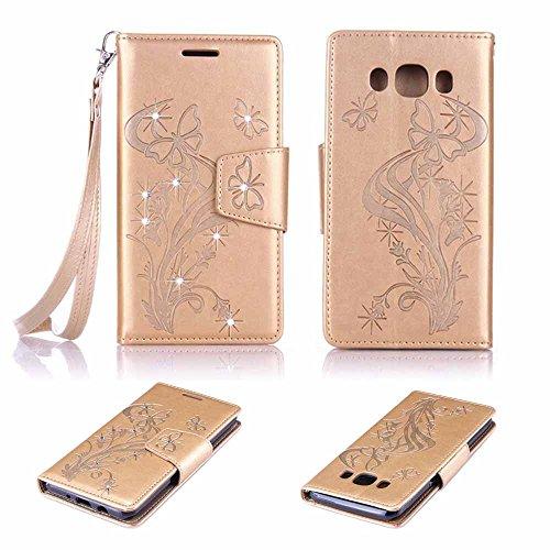 Billionn Galaxy J5 (2016) SM - J510 Funda Espumoso Mariposa Grabado en Relieve PU Cuero Magnética Stand Flip Piel Protector Tapa Cover Case con para Samsung Galaxy J5 (2016) SM - J510