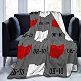 Ohio State Gray Flannel Fleece Throw Blanket, Soft Warm Cozy Lightweight Kids Toddler Pet Blanket for Sofa Bed Office Adult's Shoulder & Lap, 50x40 Inches