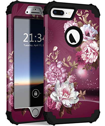 iPhone 8 Plus Case, iPhone 7 Plus Case, Hocase Heavy Duty Shockproof Protection Hard Plastic+Silicone Rubber Hybrid Protective Case for iPhone 8 Plus/iPhone 7 Plus - Royal Purple/White Flowers