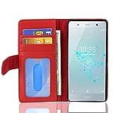 Cadorabo Coque pour Sony Xperia XZ2 Compact en Rouge Cerise - Housse Protection avec Fermoire...