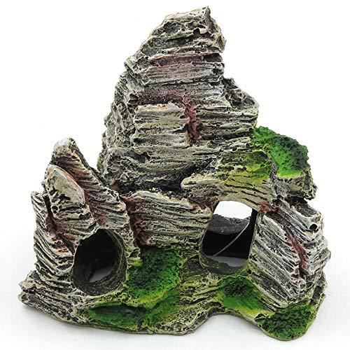 YAOHEHUA Guaridas Piedras hábitats Reptiles y Anfibios Mini rocalla de Acuario de Resina Exquisita rocalla pequeña