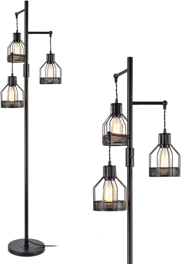 Jobtical New Free Shipping Topics on TV 3 Lights Industrial Floor Rus Shade Iron Vintage Lamp